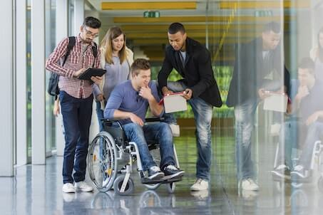 students, one in wheelchair