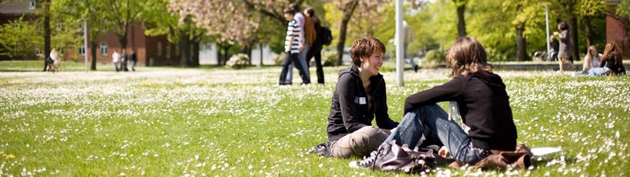 Students sitting on campus lawn